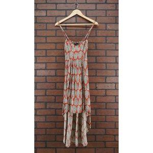 LF MILLAU High Low Red Leaf Print Dress Size Small